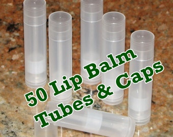50 Lip Balm Tubes & Caps: Wholesale pricing! Larger quantities available! FAST SHIPPING