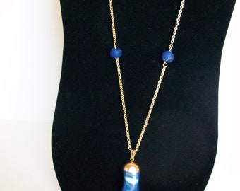 Blue Tumbled Agate Pendant on Long Gold Chain