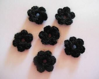 Wool crochet black flowers