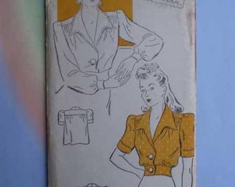 Vintage 40s Blouse Unused Pattern 30 Bust Gold Seal Pattern