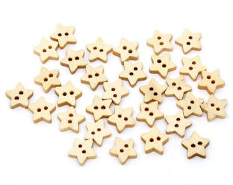 Star Wood Button - 13mm - set of 50 - #BUTTON381C