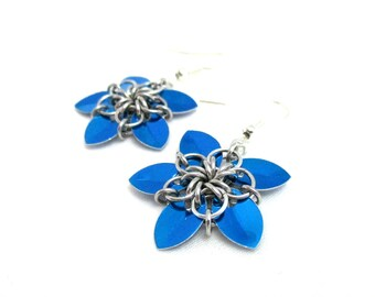 Tiny Royal Blue Scale Flower Earrings - Scalemaille Earrings - Ready to Ship!