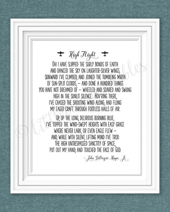 Gargantuan image throughout high flight poem printable