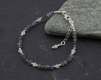 Labradorite and moonstone stacking bracelet, sterling silver beads and findings, microfaceted rondelles. June birthstone. By Lys and Rose