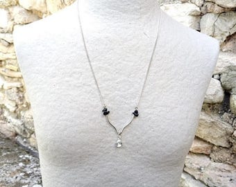 Obsidian necklace, mother's day, necklace rhinestone Jewelry Silver, silver necklace, dainty necklace, art deco necklace, discreet day collar