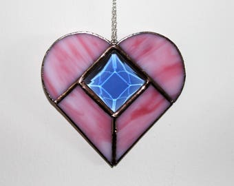 Stained Glass Pink Heart with a Blue Bevel Suncatcher