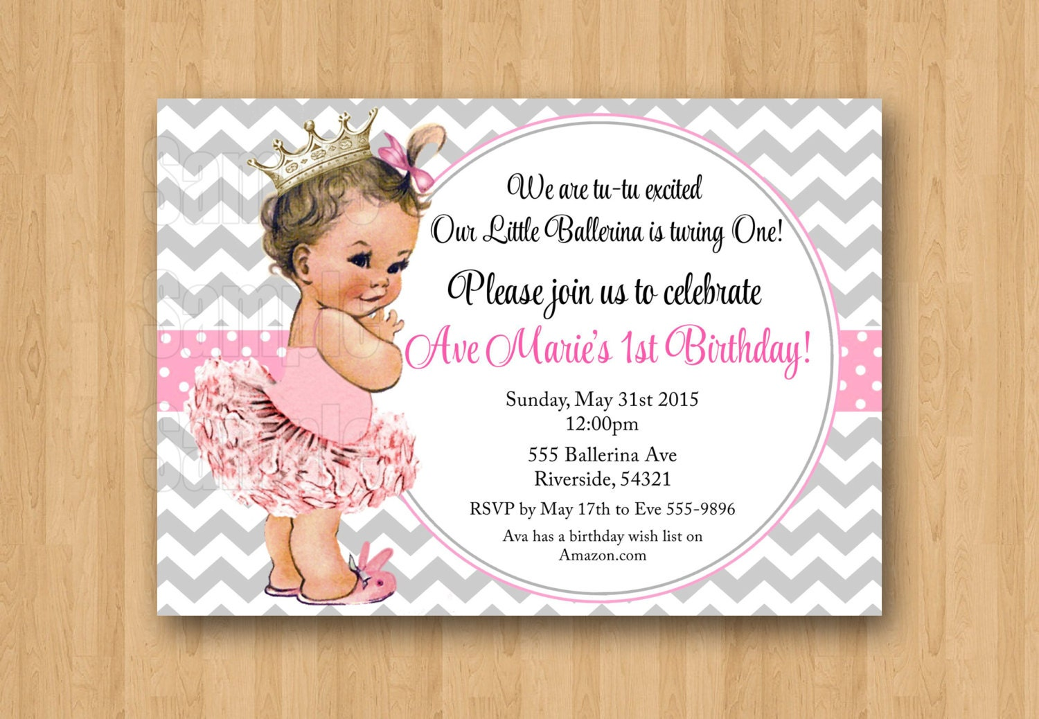 Vintage Baby Girl Ballerina Princess 1st Birthday Invitation
