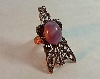 Vintage Large Filigree Ring, Purple Stone, Novelty, Fly Shape