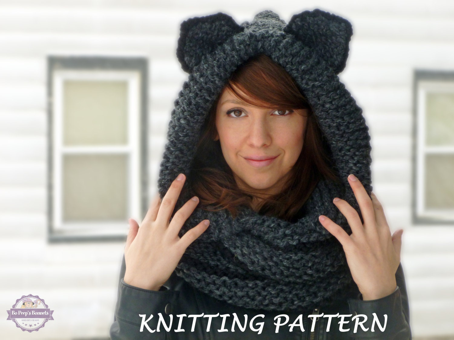 KNITTING PATTERN Hooded Cat Cowl, Cat Ears Hooded Infinity Scarf ...
