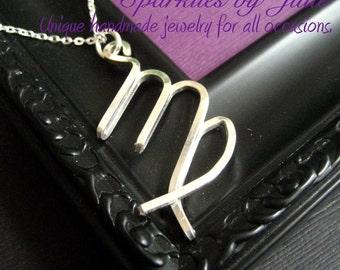 Virgo Necklace  - Zodiac necklace, hand formed, sterling silver Astrological Symbol pendant