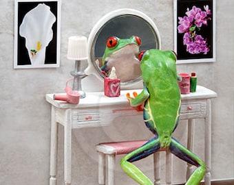 Powder Room, Make up Table, Ladies Room Art, Frog Vanity