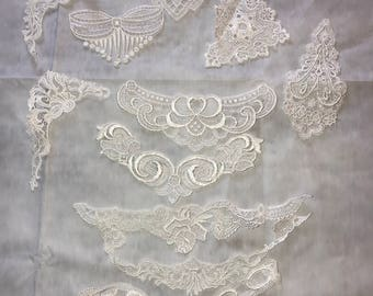 White Lace Trim Appliqué, Vintage, Lot Of 11