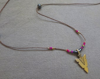 Golden, Black and Hot Pink trible arrow shaped pendant beaded necklace, Boho style