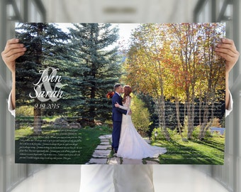 Wedding Vow Art, 1st anniversary gift, paper anniversary gift, Christmas gift for wife, Christmas gift for husband