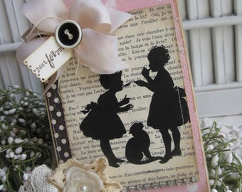 shabby chic silhouette children kitty cat JUST FOR YOU stitched handmade card