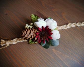 Whimsy Pinecone Wrist Corsage, Weddings, Accessories, wedding corsage, wrist corsage, blue lace corsage, blue wrist corsage, rustic corsage
