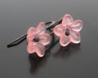 palest pink blossoms ... lucite and sterling silver earrings