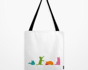 Colorful Cats Tote Bag, Multicolor Cat Shoulder Bag, Cute Beach Bag