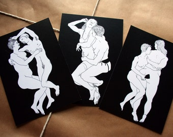 Real queer sex - Set of 3 postcards - queer postcard, transgender ftm lgbt postcards, trans, Lgbtq, lesbian, gay, erotic postcard,  adult