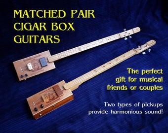 MATCHED PAIR Cigar Box Guitar Duo
