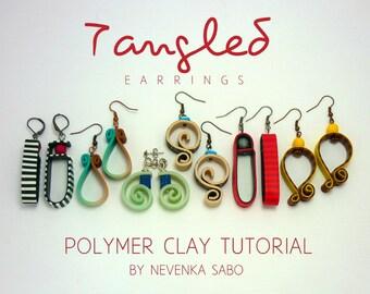 Polymer clay tutorial,  Tangled earrings, E-book, PDF tutorial, clay tutorial, Colorful earrings, DIY craft idea, Diy earrings