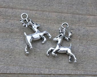 1 PIECE Reindeer charm, Rudolph Charm, Reindeer silver tone charm, Christmas charm, Christmas reindeer B27469