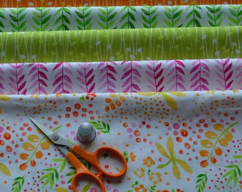 Fat Quarter Bundle, 6 Fat Quarters, Dragonfly Fabric, Lime Green Leaves, Quilting Fabric, Michael Miller,  Cotton Fabric, Spring Fabric