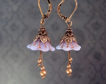 Lavender Fairy Flower Earrings - Copper Light Purple Floral Jewelry Lavander Fairy Wedding Costume Leverback Earrings Czech Glass Lavendar