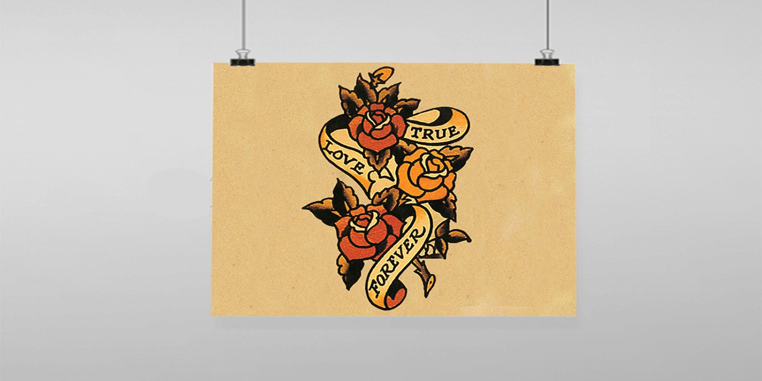 Rose Ture Love Forever Tattoo Sailor Jerry Vintage