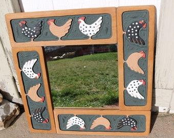 Chicken Carved Wood Framed Mirror