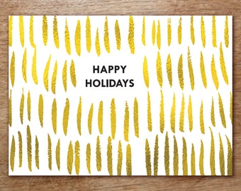 Printable Christmas Card - Instant Download - Gold Christmas Card - Gold Strokes PDF Card - Happy Holidays PDF Card - Print at Home - PDF