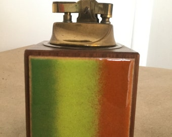 Vintage Mid Century Abstract Enamel Teak Table Top Lighter