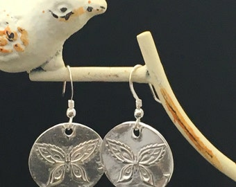 Imprinted Butterfly Earrings, Fine Silver Art Clay Earrings, OOAK earrings, Fine Silver Metal Earrings, Earrings under 75