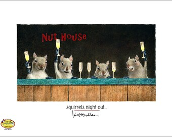 Will Bullas / art print / squirrels night out... / humor / animals