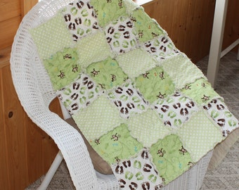 Neutral Baby Quilt, Rag, Blanket, Grow With Me, Gender Neutral, Green, Monkey