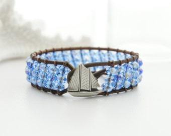 Sail Boat Leather Cuff Bracelet Beaded Leather Cuff Bracelet Beach Bracelet Friendship Bracelet Leather Wrap Bracelet Boho Bracelet