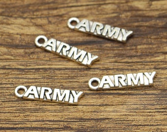 30pcs Army Charms Military Charms Antique Silver Tone 22x5mm CF2937