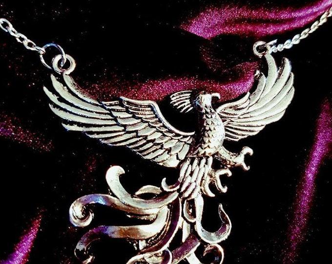 Phoenix Necklace - goth gothic big necklace occult transformation ankhphoenix bird egypt