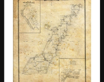 Door County Wisconsin Map Print Poster Sturgeon Bay - Sepia Grunge