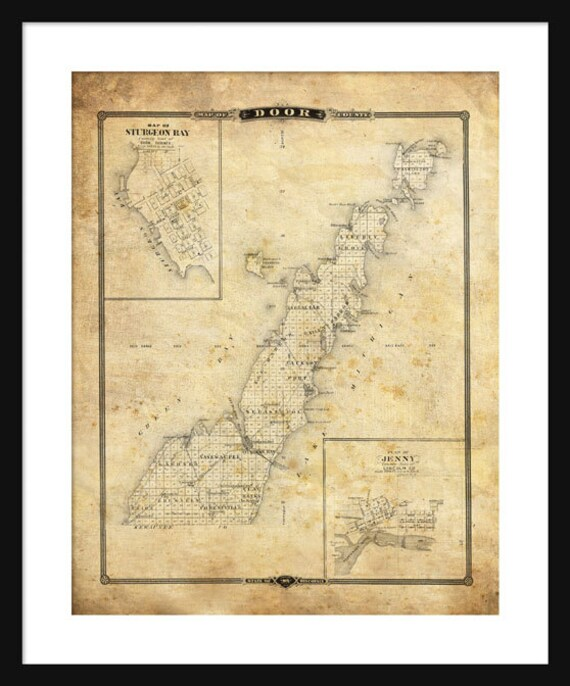 Door county wisconsin map print poster sturgeon bay sepia gumiabroncs Image collections