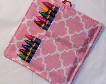 Pink Lattice Crayon Roll, Party Favor, Party Supplies, Gift Basket, Party Favor, Wedding Favor, School Supplies, Daycare Supplies