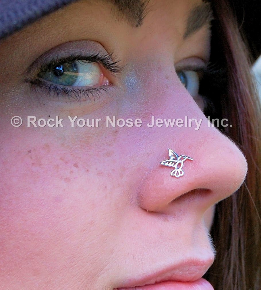 Hummingbird Nose Stud / Bird Nose Ring / Animal Nose Stud