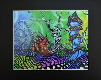 Amusement Park Imaginary Land Swirly Trees Art Print of Original  Black Matted To 11x14