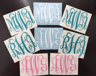 Set of Two, Scroll Vinyl Monogram Decals, 2.5 to 5 Inch Options, Monogram Decal, Car Decal