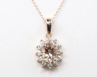 Oval Morganite Diamond Necklace.14k Rose Gold Necklace. 0.36ct High Quality Diamond Necklace.AAA 8x6 mm Natural Morganite Classic Necklace
