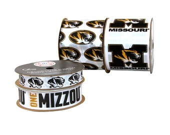 Offray 4-Pack University of Missouri Tigers Ribbon, NCCA ribbon Mizzou - Offray College Ribbon