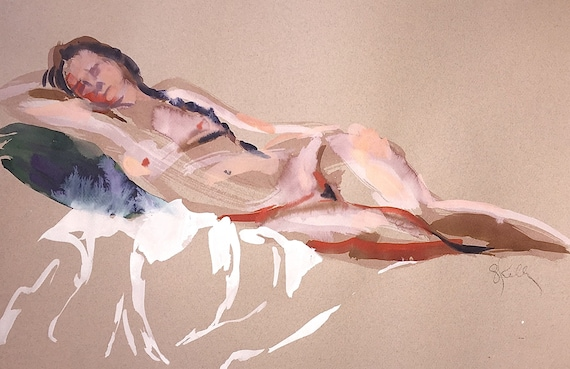 Nude #1527- original watercolor painting by Gretchen Kelly
