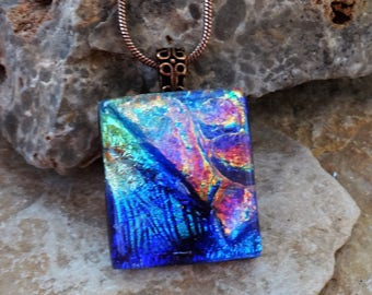 Petite Pink and Purple Glass Pendant, Small Fused Glass Pendant, Dichroic Pendant, Square Glass Pendant, Glass Slide -Pink Glass Necklace