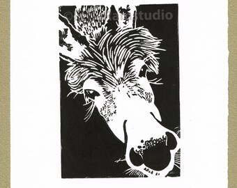 Miniature Donkey Print - Linocut Original hand pulled Relief Print