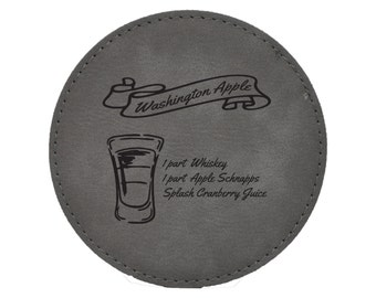 Washington Apple Drink Coasters - Shots - Mixed Drink Recipies - Choice of Coaster Color and Shape - 088